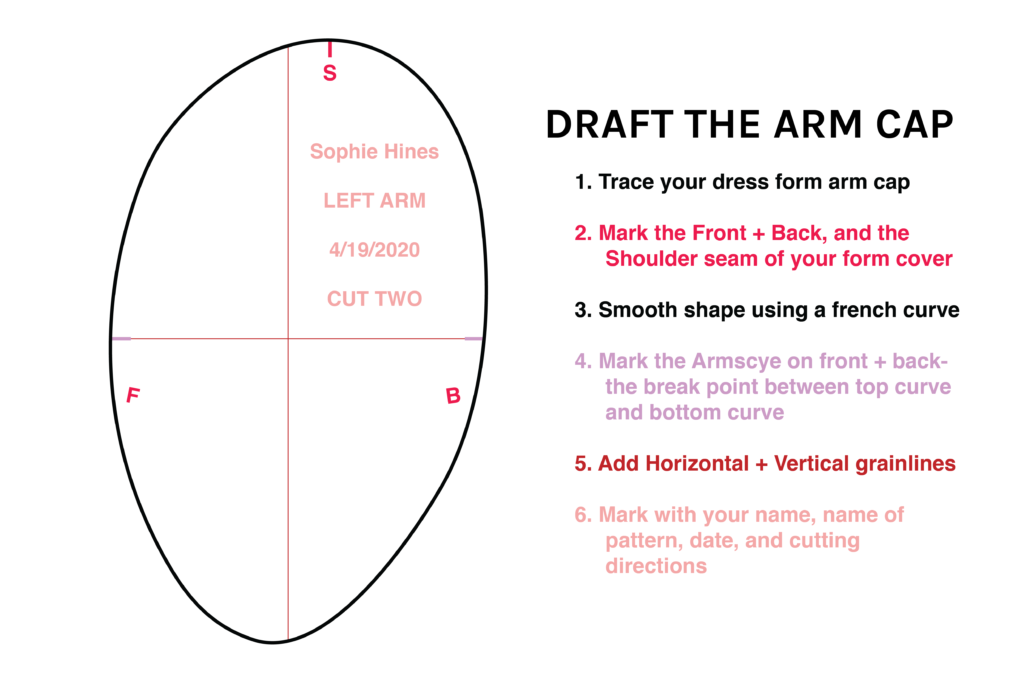Draft the Arm Cap. 1. Trace your dress form arm cap. 2. Mark the Front + Back, and the shoulder seam of your form cover. 3. Smooth shape using a french curve. 4. Mark the armscye on front and back- the break point between the top curve and the bottom curve. 5. Add horizontal and vertical grainlines. 6. Mark with your name, name of pattern, date, and cutting directions.